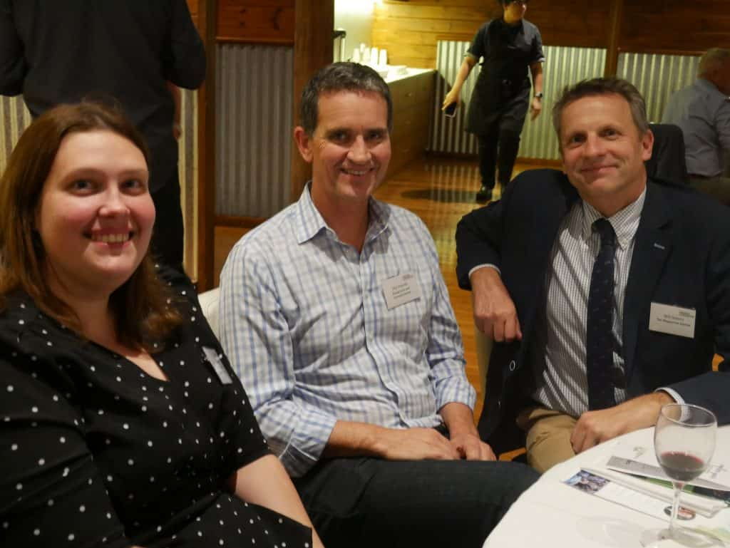 Georgia Linton, Phil Priestly and Will Adams at 2021 AGM Dinner