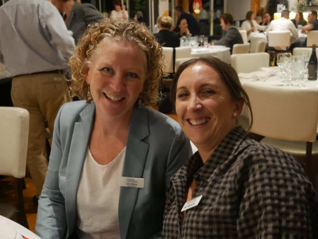 Jane Macey and Bec Costa-Lowe at 2021 AGM Dinner