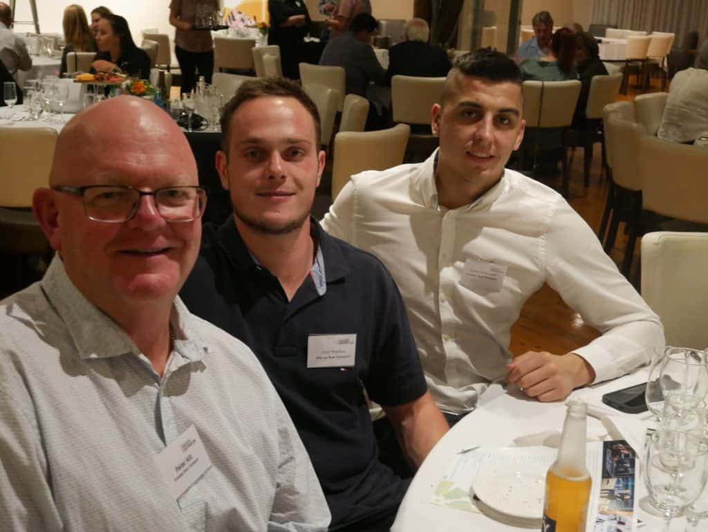 Peter Hill, John Kreskas and Adam Katsoutas at 2021 AGM Dinner