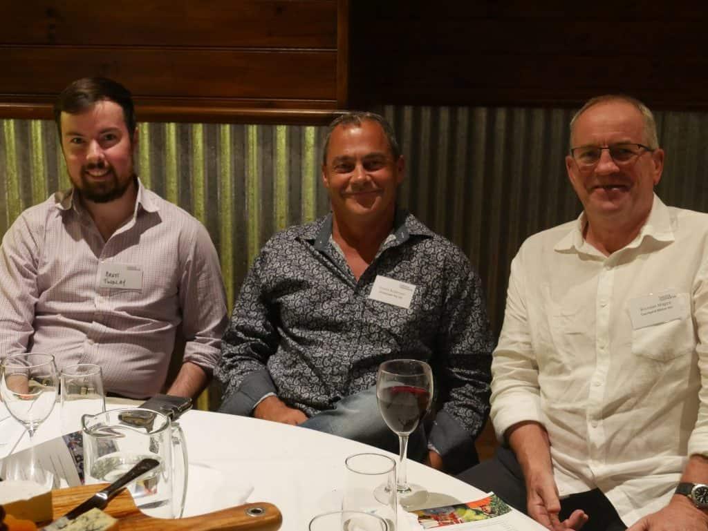 Brett Findlay, Trevor Anderson and Brendan Magee at 2021 AGM dinner