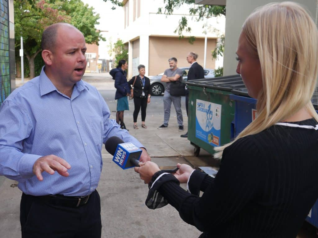 Sam Birrell interviewed by WIN News at Creative Strategy Launch March 2021